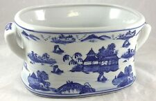 Salesman Sample Size Blue Willow Porcelain Ironstone Hand Painted Foot Bath Tub