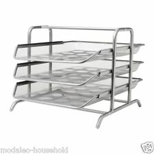 New IKEA DOKUMENT Silver A4 3-Tier Sliding Letter/Document Tray-B797