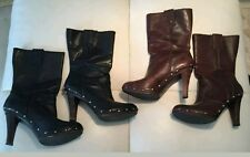 Lot of 2 Michael Kors Black Brown Leather Wooden Clog Knee High Boots 8.5