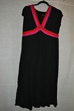 Black Dress X Large 16 / 18 in with Pink & Red detail Cotton Blend (T216)