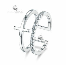 18K White Gold double band Simulated Diamond up finger ring free size