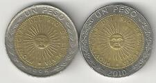 2 BI-METAL 1 PESO COINS from ARGENTINA DATING 1995 & 2010