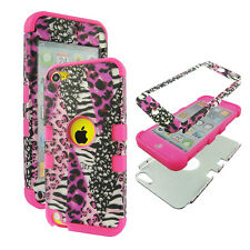 Hybrid Tuff Pink Leopard Zebra for Apple iPod Touch 5 Case Cover