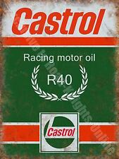 Castrol R Racing Motor Oil, 135 Petrol Old Vintage Garage, Small Metal/Tin Sign