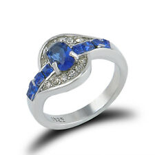 Fashion Wedding Blue Sapphire Silver Filled Women Engagement Ring Size 7 CX59