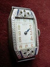 Antique Elgin Art Deco 18 K White Gold Parts/Restore Wind & Runs LADIES WATCH