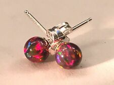Petite RED FIRE OPAL Ball Post Sterling Earrings, Perfect! Sterling Silver 925