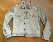 LEVI TYPE 3 SUEDE BOVINE LEATHER SLIM TRUCKER JACKET S in TAN