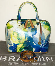 BRAHMIN VIVIAN BLUE FIJI DOME GENUINE LEATHER SATCHEL  /  SHOULDER BAG NWOT $375