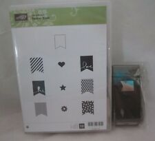 Stampin Up Banner Blash Wood Mounted Stamps & Matching Banner Punch 10 Stamps