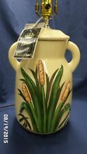 """987M Vtg Harris Ceramic 25"""" Table Lamp w/3D Cattails HAND SIGN w/ORIG TAG-MINT!!"""