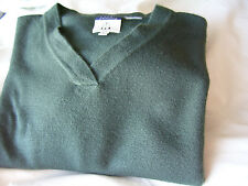 Mens Sweater Cousin Johnny V-Neck Knit Pullover Green Long Sleeve Size L