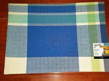 COOL FIESTA placemat PLAID lapis turquoise INDOOR outdoor NEW blue green