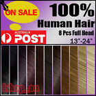 "13""-24"" 8Pcs Full head clip in Extensions Real Remy Human Hair Clip ins Newly ix"