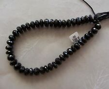 "10"" Strand Black Spinel Gemstone Faceted Chunky Rondelle Beads 9mm-10mm"