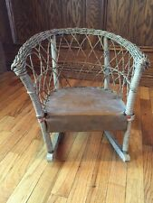 Antique Vintage Childs Wicker Woven Rocking Chair Adorable! GVC