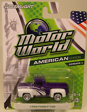 GREENLIGHT 1:64 SCALE DIECAST METAL PURPLE AND WHITE 1956 FORD F-100 TRUCK