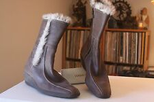 Geox Respira 41 11 Inches Tall Brown Leather Side Zip Wedge Heel Boots Size 10.5
