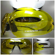 MOTORCYCLE BIKER SPORT WRAP Riding Driving Day or Night Yellow Lens SUN GLASSES