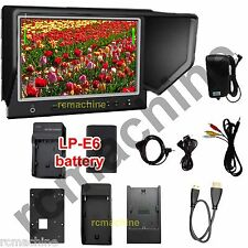 """Lilliput 7"""" 664/P IPS Peaking HDMI In Monitor Canon 5D2 3+LP-E6 Battery+charger"""