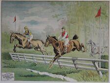 """""""COURSE DE CHEVAUX / SAUT D'OBSTACLES"""" Affiche entoilée Litho E. HELSEY 82x63cm"""