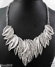 New Design huge Lady Statement crystal multi chunky chain charm  necklace 880