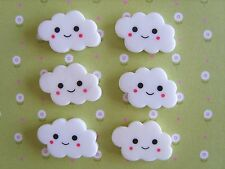 6 x Smiley Clouds Flatback Resin Embellishment Crafts Cabochon Decoden *UK*