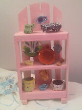 Dollhouse Miniature Pink Wooden Shelf W/ Pottery Bowls, Mugs and Pitchers