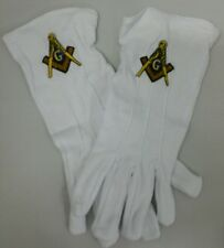 MASONIC FREEMASONS SQUARE AND COMPASS EMBROIDERED DRESS GLOVES
