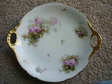 GORGEOUS LIMOGES JP L HAND PAINTED SERVING PLATE WITH PIERCED HANDLES/GOLD TRIM