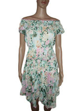 Womens Frill Asymmetric Party Multi Floral Formal Casual Evening Dress sz L AL22