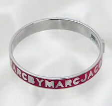 Marc by Marc Jacobs Women's Bangle Logo Bracelet Pop Pink Silver Tone M/L