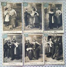 Patriotic Vive la France Soldier Love Lady Couple c.1905  Vintage Postcards
