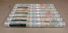 Lot of 7 Rolls Brewster Wallcovering Floral Stripe Wallpaper Baby Blue Tone