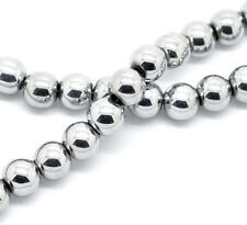 "2 Strand Silver Tone Hematite Round Spacer Loose Beads 8mm(3/8"") 40cm(15-3/4"")"