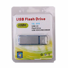 NEW USB MEMORY STICK Rechargeable 8GB HQ 650Hr SPY Audio Voice Recorder Silver