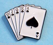 5 Card Flush Poker Pinback Award Ace of Spades, King, Queen, Jack, Ten Metal Pin