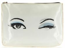 KATE SPADE Authentic Gray White Wink Hologram Zip Top Clutch