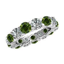 2.40 Carat White and Green Diamonds Full Eternity Band Ring 14K White Gold Clean