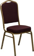 Crown Back Stacking Banquet Chair with Burgundy Patterned Fabric and Gold Frame
