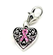 Pink Ribbon Charms Breast Cancer Awareness Heart Lobster Clasp Clip Lot of 10