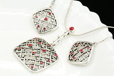 unique ethnic ruby red crystal square net pendant necklace hook earrings set N24