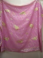Vintage Pink & Silver Dupatta Indian Scarf Embroidered Sarong Veil Stole Hijab