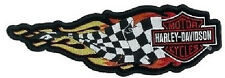 Patch Harley Davidson Victory flag in Flames 25x8cm Flaming Checkered Banner