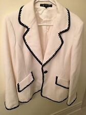 ELLEN TRACY Ivory White Black Trim Cotton Blazer Size 16