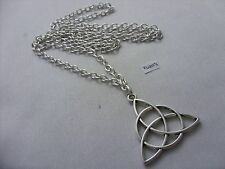 "A Three Triquetra Knot Tibetan Silver Charm Pendant, Long ( 30"" ) Chain Necklace"