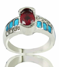 Blue Fire Opal Ruby & Zircon Women Jewelry Silver Plated Ring Size 8 PM19