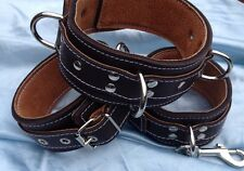 Handmade English leather Collar & Wrist cuffs Brown And Tan ,fetish, Bondage