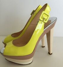 Christian Louboutin Yellow Beige Patent Leather 123 Scarpe Sandals Size 38