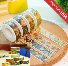Lot 4pcs 10m Paper Washi Masking Tape Art Deco DIY Scrapbook Supply Floral Cute